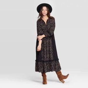 Women's Dark Floral Long Sleeve Maxi Prairie Dress